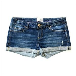 Garage navy blue dark wash low rise denim shorts